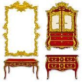 Rococo furniture stickers — Stock Photo