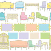 Rococo furniture linear pattern — Stock Photo