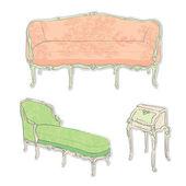 Rococo antique furniture stickers — Stock Photo