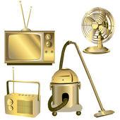 Zlaté retro elektrických předmětů — Stock fotografie