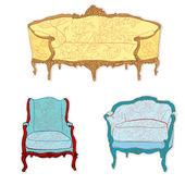 Antique rococo furniture stickers — Stock Photo