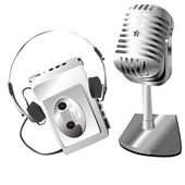 Silver microphone and walkman — Stock Photo