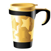 Golden metal cup with stars — Stock Photo