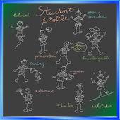 School blackboard with student profile — Stock Photo