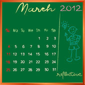2012 calendar 3 march for school — Stock Photo