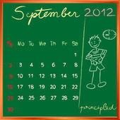 2012 calendar 9 september for school — Stock Photo