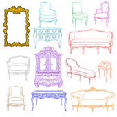 Rococo furniture doodles — Stock Photo