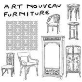 Jugendstil mobilya doodles — Stok fotoğraf