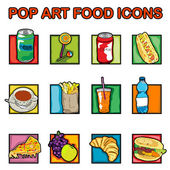 Pop art food icons — Stockfoto
