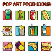 Popart voedsel pictogrammen — Stockfoto