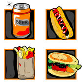 Halloween scary fast food meal icons — Stockfoto