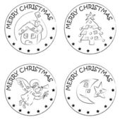 4 christmas coin stamps house tree moon angel — Stok fotoğraf