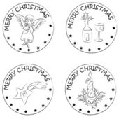 4 christmas coin stamps angel candle star wine — 图库照片