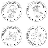 4 christmas coin stamps sock gifts globe berry elf — Zdjęcie stockowe