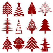 Five abstract christmas tree stencils — Stock Photo