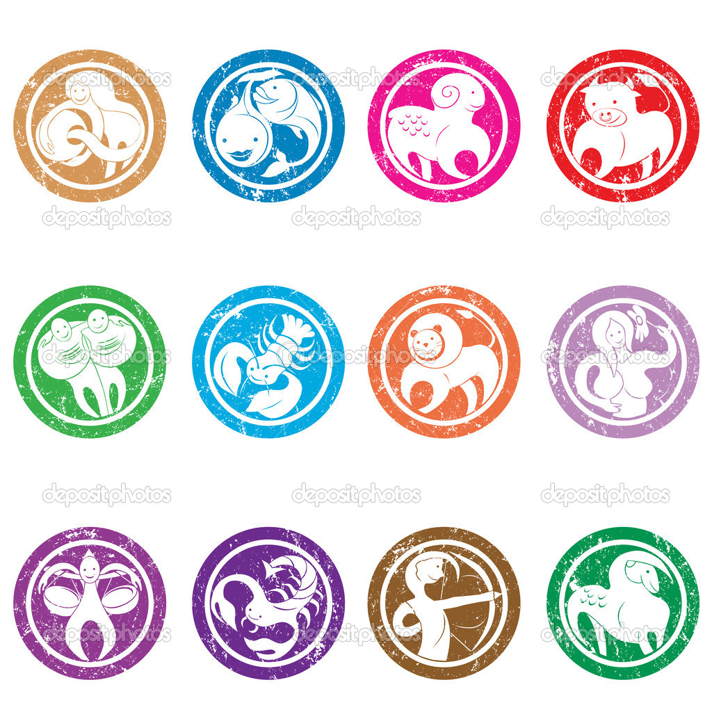 Stylized zodiac signs stamps