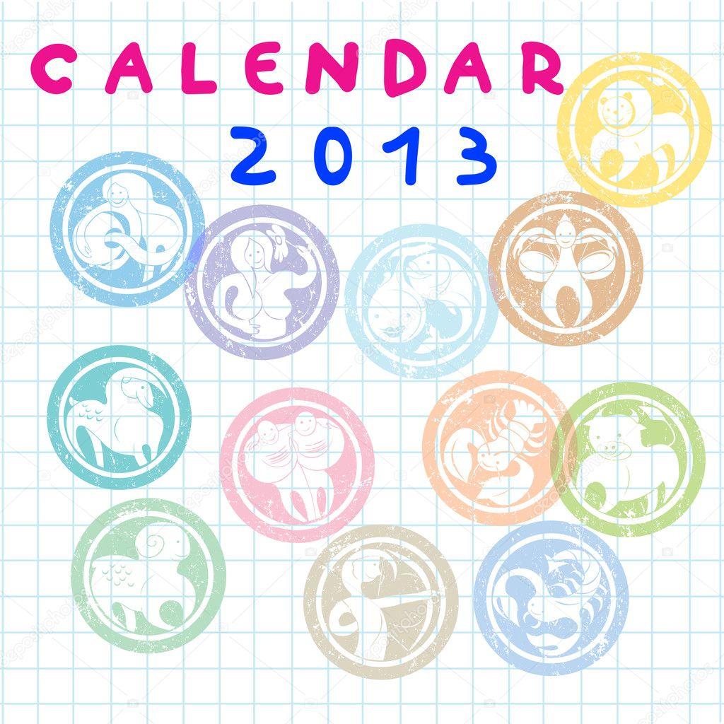 2013 sternzeichen kalender cover stockfoto 10273618. Black Bedroom Furniture Sets. Home Design Ideas