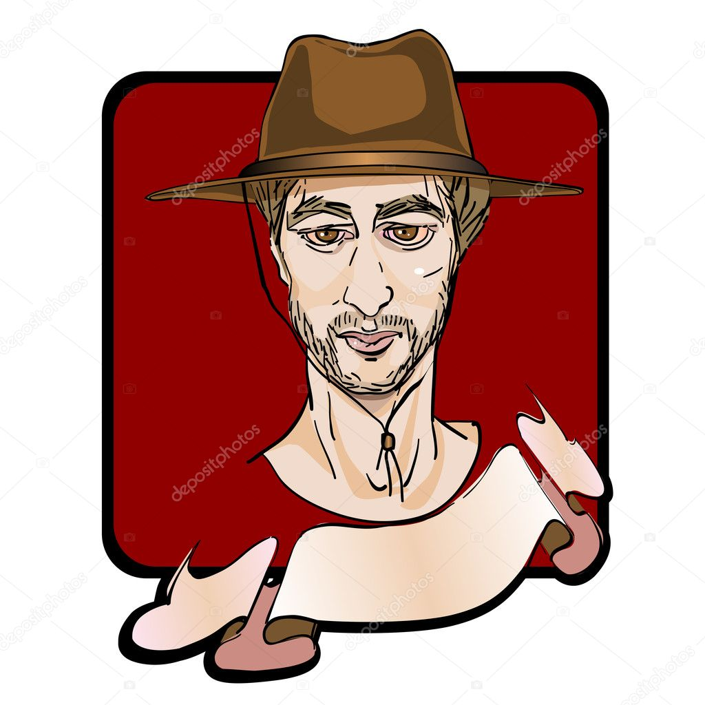 Portratit of a man with a  cowboy hat and a ribbon, clip art — Stock Photo #10274112