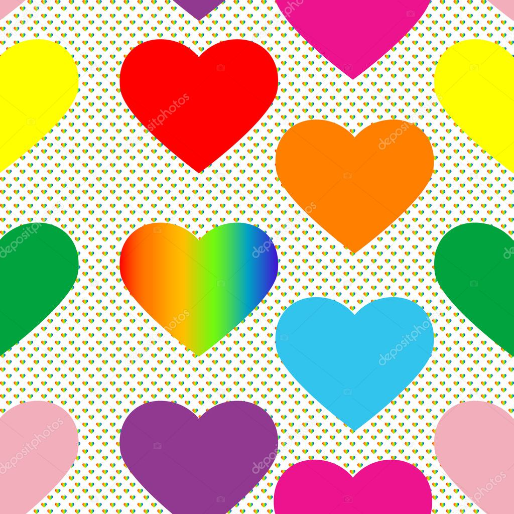 Valentine's day pattern with colored hearts and pop art background — Stock Photo #10274302