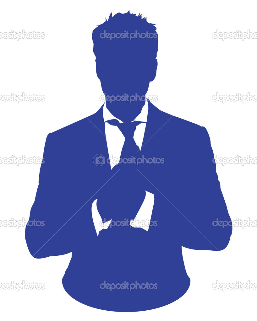 Graphic illustration of a man in blue business suit as user icon, avatar — Stock Photo #10274377