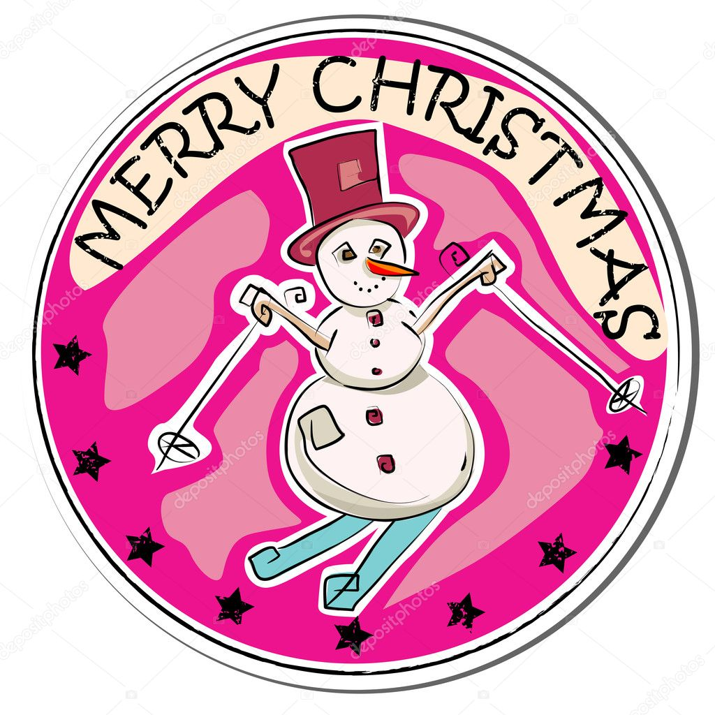 Merry christmas retro sticker with snowman isolated on white — Stock Photo #10275166