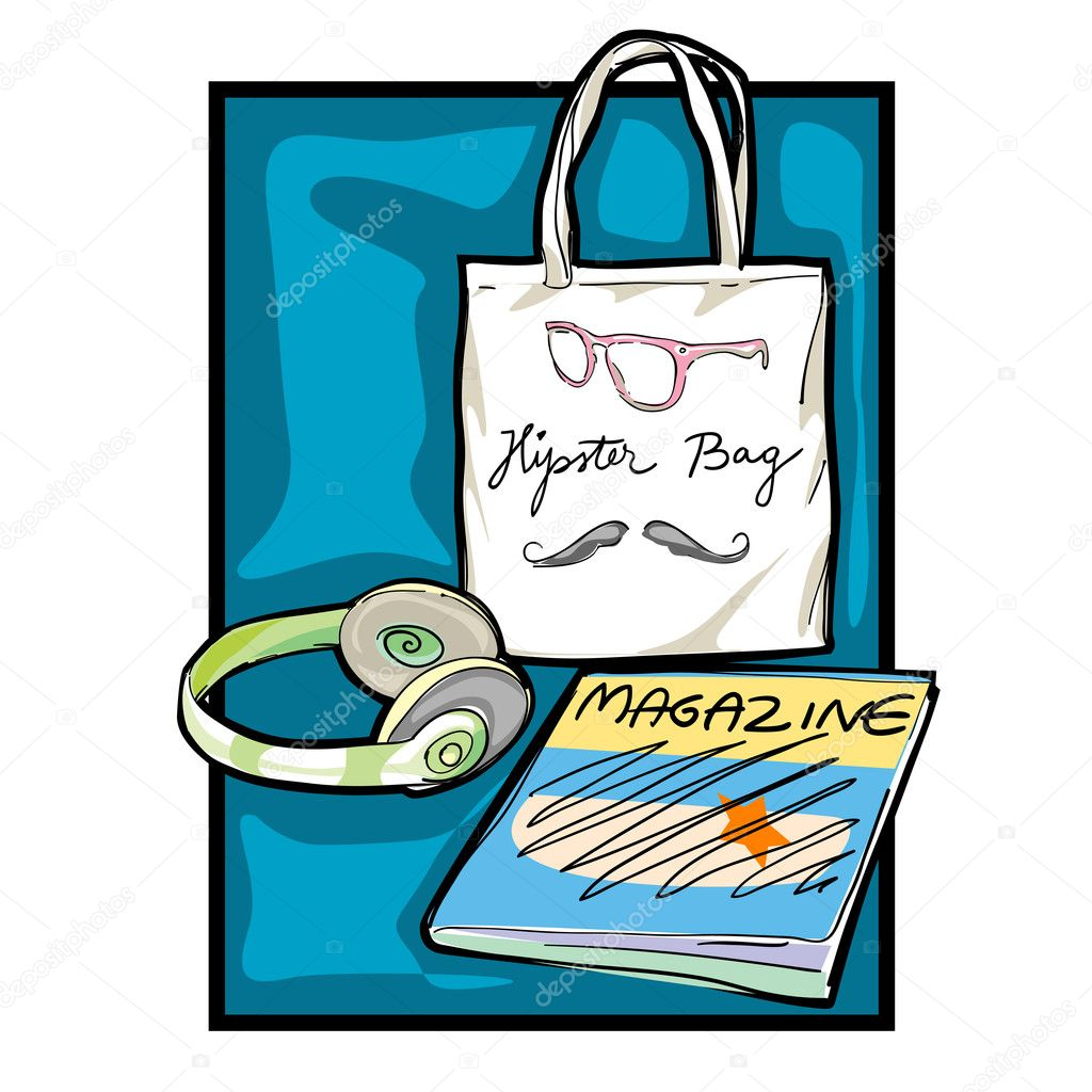 Urban hipster accessories, smart colored doodles isolated on white  Zdjcie stockowe #10275284