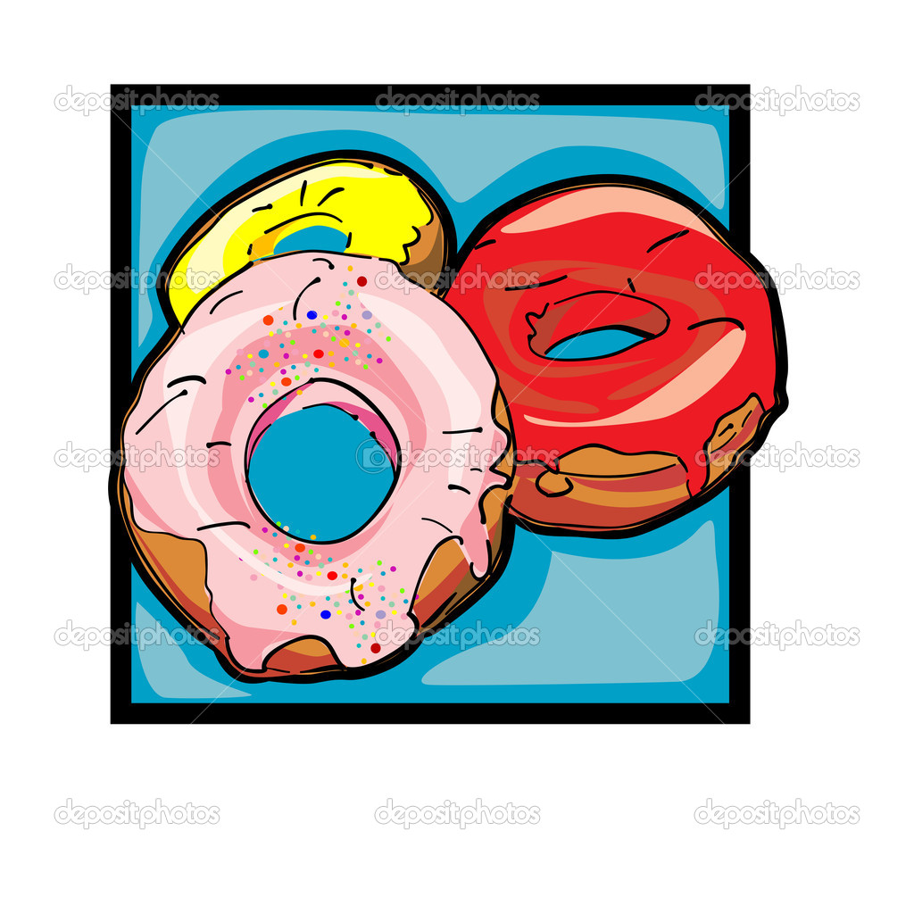Classic clip art graphic icon with donuts — Stock Photo #10275497