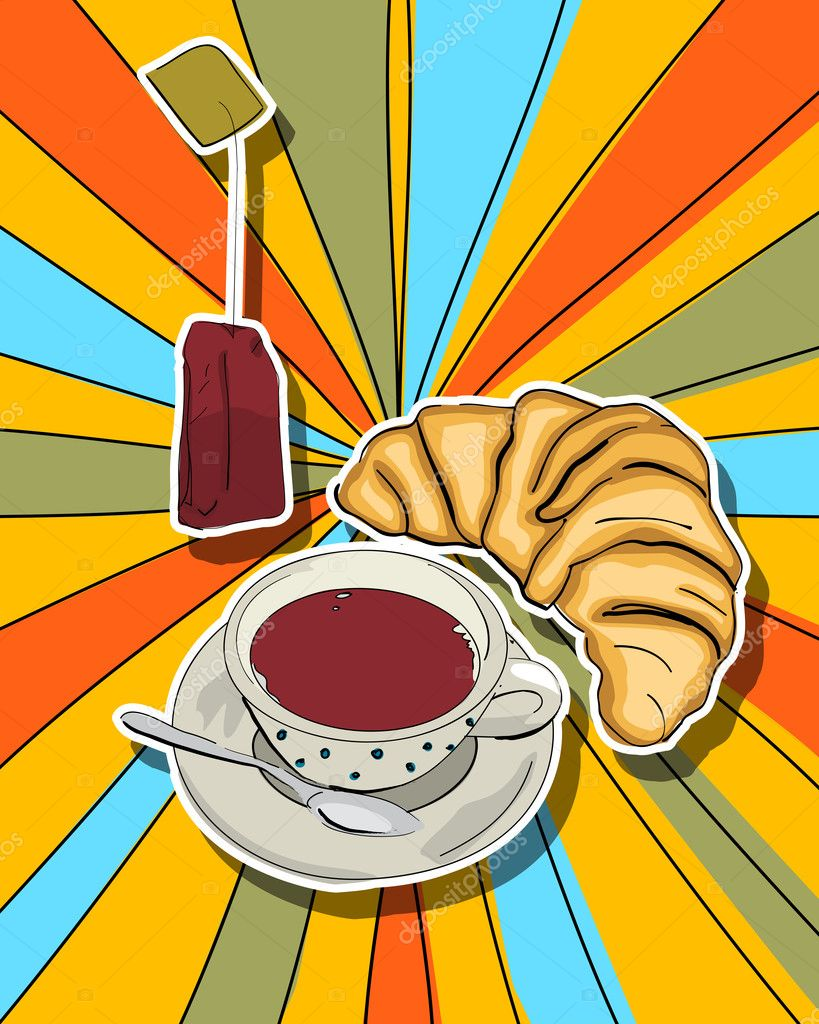 Pop art graphic background with tea cup and croissant — Stock Photo #10275655