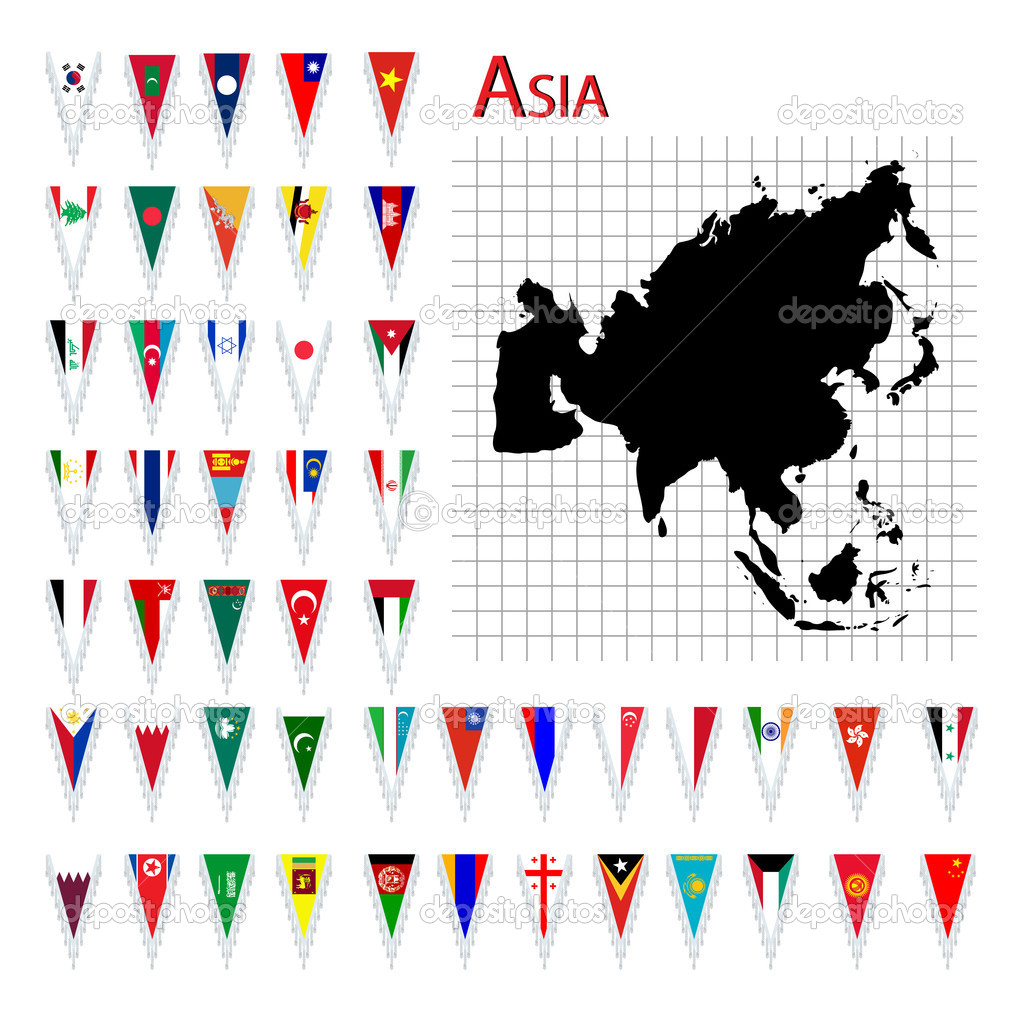 Complete set of Asia flags and map, isolated and grouped objects over white background  Stock Photo #10275752