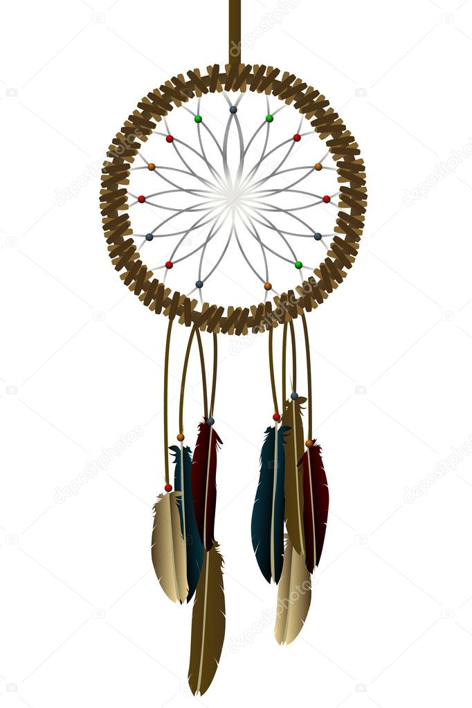 Native american dream-catcher over white  Stock Photo #10275777