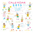 Calendar 2013 kids cover — Stock Photo