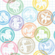 Zodiac sign stamps pattern — Stock fotografie