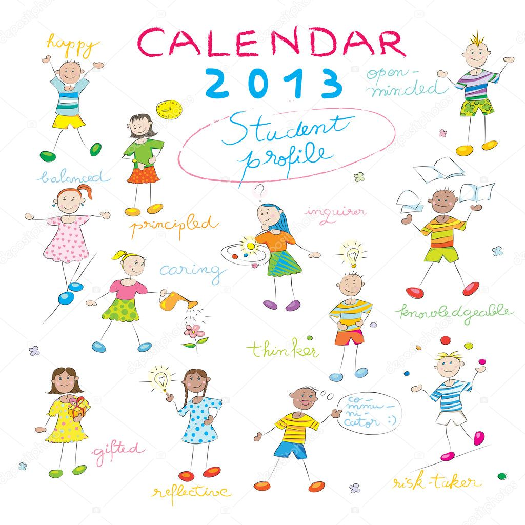 2013 calendar on a whiteboard with the student profile for international schools, cover design — Stock Photo #10587214