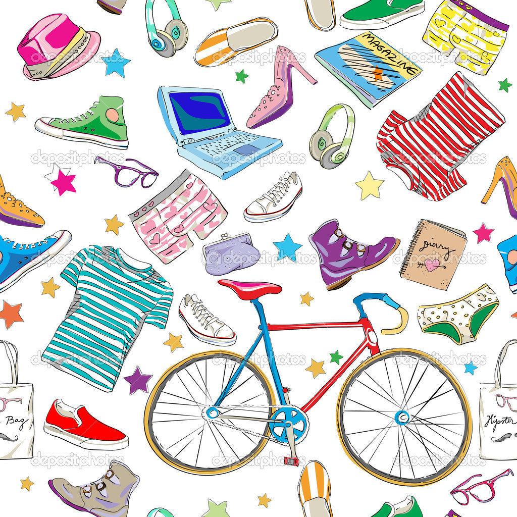 Urban hipster accesories pattern, smart colored doodles over white — Stock Photo #10666577