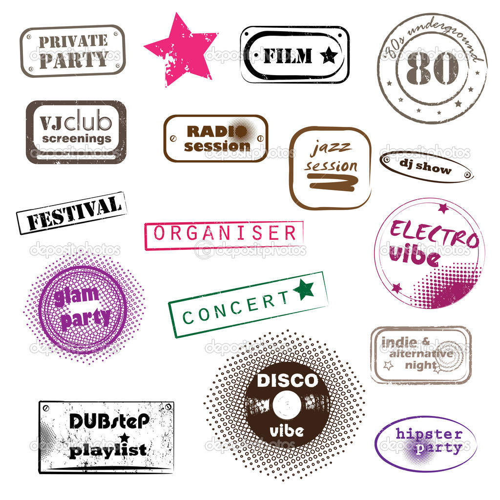 Hipster party retro music pop stamps collection isolated on white — Stock Photo #10694350