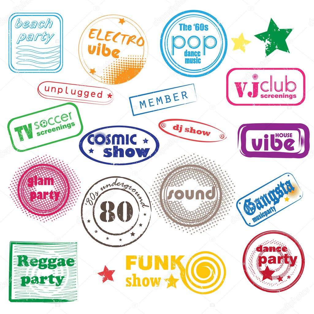 Club music pop stamps collection isolated on white  Stock Photo #10694353