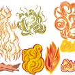 Set of fire elements - Stock Vector