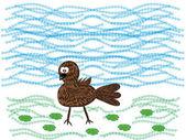 Series: wood friends. small birdie — Stock Vector