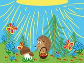 Series: wood friends. Hedgehog — Stock Vector