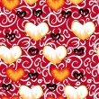 Love background with glass of red wine — Imagen vectorial