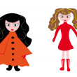 Royalty-Free Stock Vector Image: Little girls on the isolated background