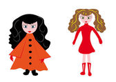 Little girls on the isolated background — Stock Vector