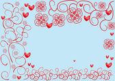 абстрактная рамка с сердечками — Cтоковый вектор