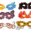 Set of vector carnival masks - Stok Vektr