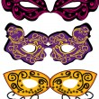 Set of vector carnival masks - Stock Vector