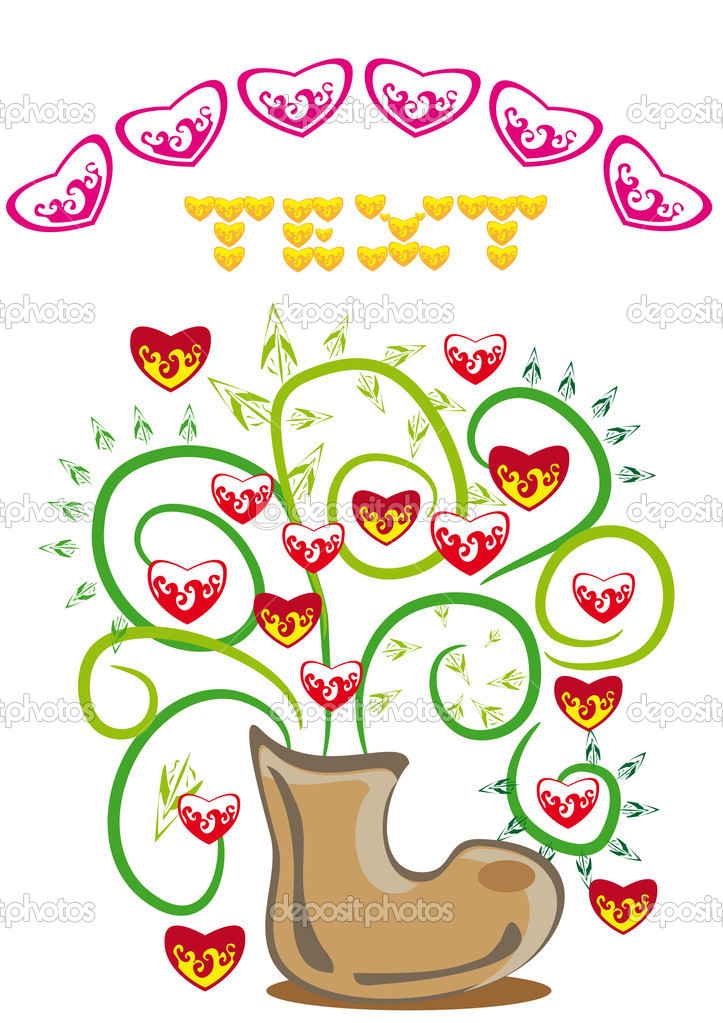 Bunch of hearts in a boot. Illustration — Vettoriali Stock  #8548533