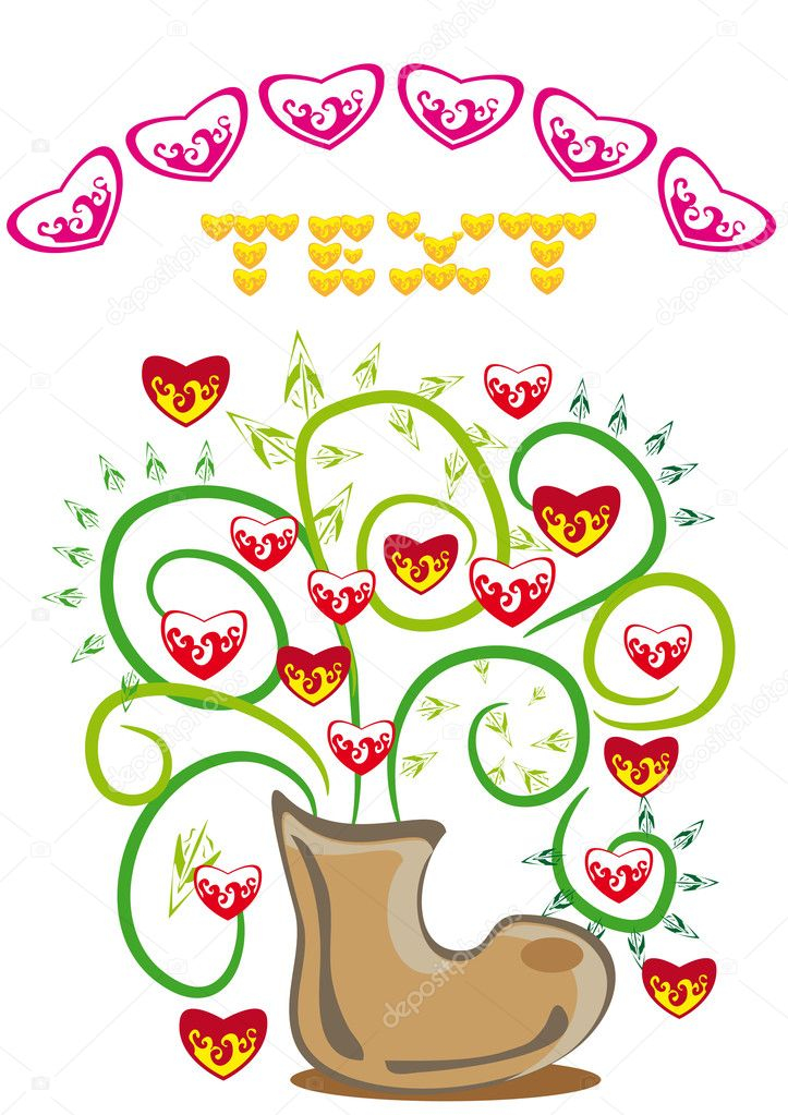 Bunch of hearts in a boot. Illustration — Stockvektor #8548533