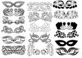 Set of vector carnival masks — Stock Vector