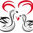 Two swans - Stock Vector
