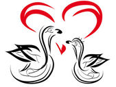 Two swans — Stock Vector